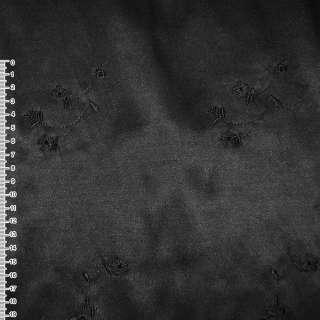 Коттон атлас черный с черными вышитыми цветами ш.145