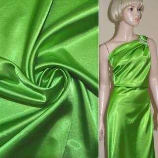 Атлас стрейч зеленый ш.150