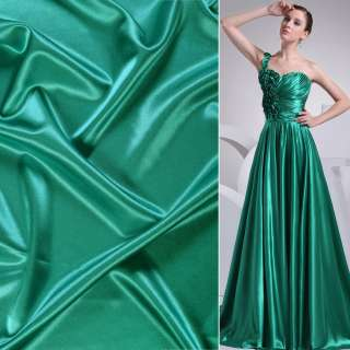 Атлас стрейч шамус зеленый изумрудный ш.150