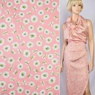 Шелк японский розовый в бело-салатовые цветы, ш.150