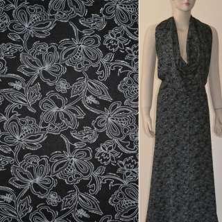 Батист черный в серые цветы с блестками ш.140