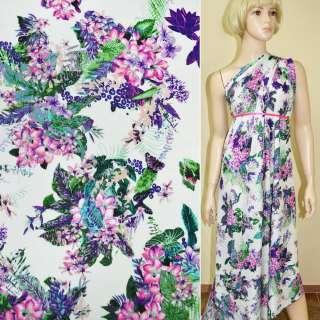 Батист диллон белый с розово-фиолетовыми цветами ш.140