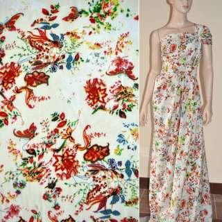 Батист диллон кремовый с желто-красными цветами и бабочками ш.140