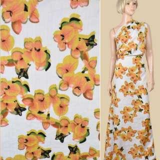 Батист белый, крупные желтые цветы, ш.140