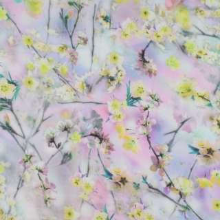 Батист стрейч сиреневый в салатово-желтые цветы ш.136