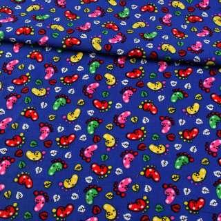 Микровельвет синий ультра веселые лапки ш.115
