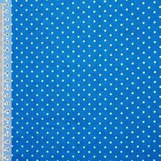 Микровельвет сине-голубой в белый горошек ш.110