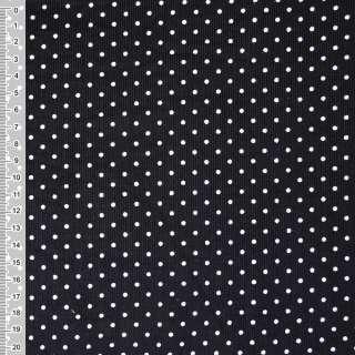 Микровельвет черный в белый горошек ш.110