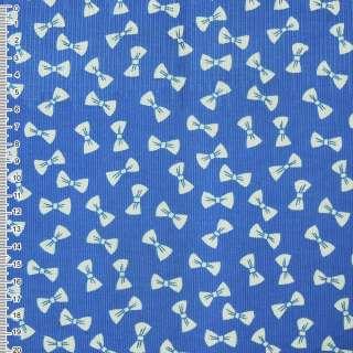 Микровельвет синий светлый с белыми бантиками ш.112