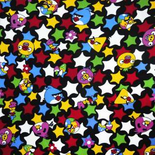 Микровельвет черный Аngry Birds и звезды ш.105