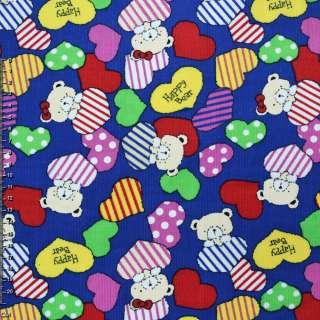 Микровельвет синий (ультра) c cердцами и мишками Happy Bear ш.112