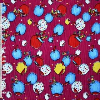 Микровельвет малиновый с разноцветными яблоками Happy day