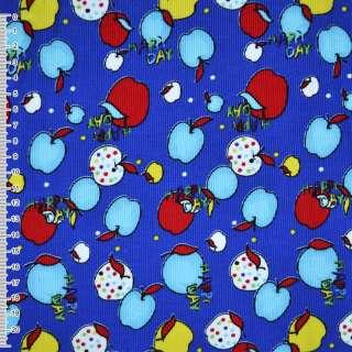 Микровельвет синий с разноцветными яблоками Happy day ш.110