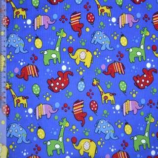 Микровельвет синий (ультра) с жирафами и слониками ш.110