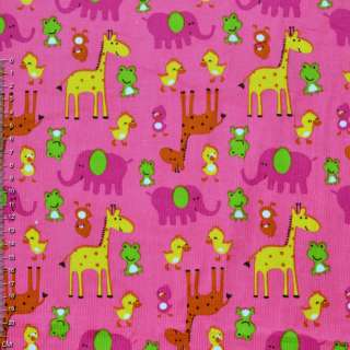 Микровельвет розовый с желтыми жирафами и утятами ш.110
