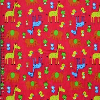 Микровельвет ярко-красный с желтыми жирафами и утятами ш.112