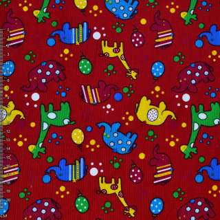 Микровельвет красный с жирафами и слониками ш.112