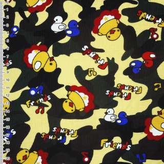 Микровельвет желтый светлый камуфляж с утятами Friends ш.112