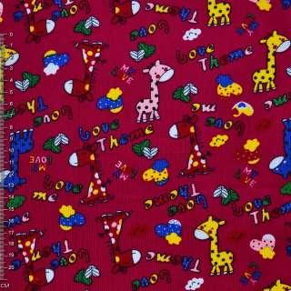 Микровельвет малиновый с жирафами Love Theme ш.110