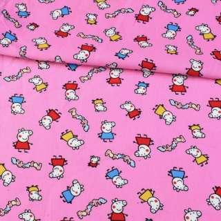 Микровельвет розовый, свинка Пеппа ш.110