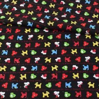 Микровельвет черный, разноцветные собачки, ш.115