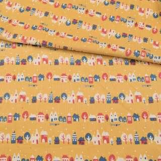 Микровельвет желтый, разноцветные домики, деревья, ш.108