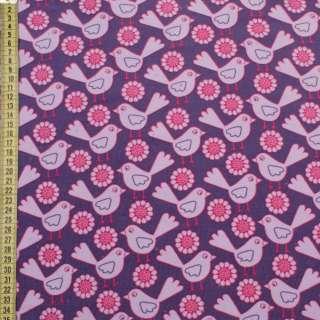 Микровельвет фиолетовый в розово-сиреневые птички, цветы, ш.145