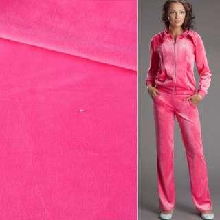Велюр стрейч спорт розовый яркий ш.190