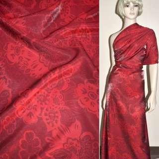 Вискоза костюмная с органзой красная в цветы, ш.150