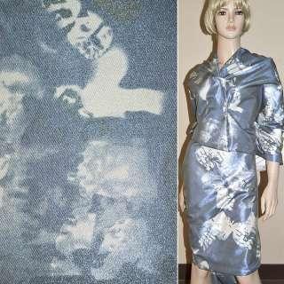 Вискоза костюмная с органзой сине-серая, ш.150
