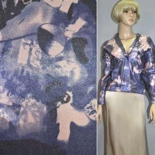 Вискоза костюмная с органзой розово-голубая, ш.150