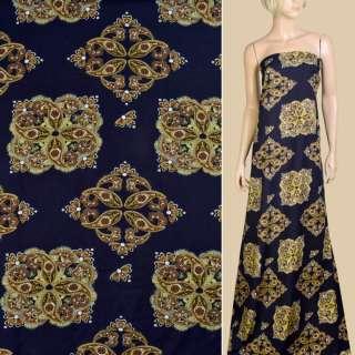 Вискоза синяя темная, коричневый орнамент, ш.145