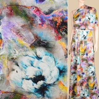 Вискоза разноцветная, акварельные цветы и птицы ш.146