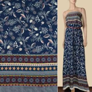 Вискоза синяя в белые цветы, листья, 2ст. купон, ш.140