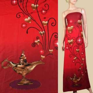 Вискоза* красно-вишневая, золотые точки, сердца, волшебная лампа, 1ст.купон, ш.143