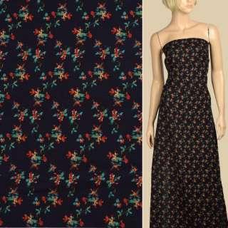 Вискоза синяя темная, красно-зеленые мелкие цветы, ш.140