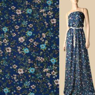 Вискоза жатая синяя, бирюзовые, бежевые цветы, ш.131