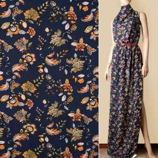 Вискоза жатая синяя темная, желто-оранжевые цветы, ш.140