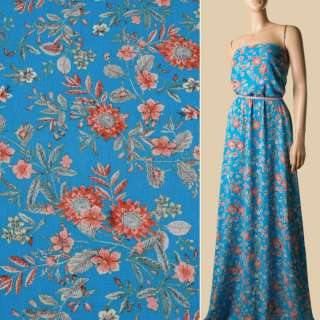 Вискоза жатая голубая, оранжевые цветы, ш.135