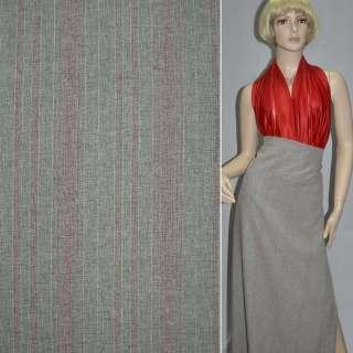 Габардин костюмный серый светлый в красные полоски с люрексом, ш.150