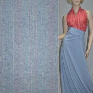 Габардин костюмный голубой в розовые полоски с люрексом, ш.150