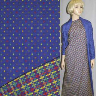 Ткань костюмная 2-ст. синяя в мелкие квадраты ш.147
