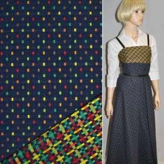 Ткань костюмная 2-ст. темно-синяя в мелкие квадраты ш.147