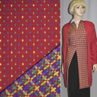 Ткань костюмная 2-ст. красная в мелкие квадраты ш.145