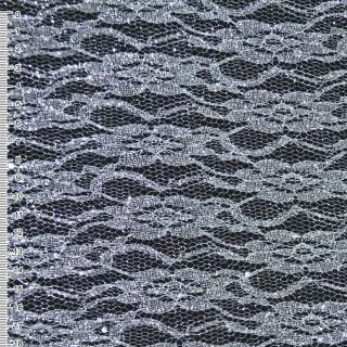 Гипюр белый с серебристым штампом и блестками (жесткий) ш.160
