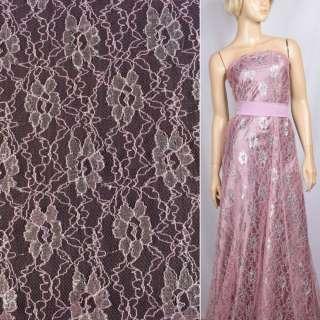Гипюр розовый с серебристыми блестками