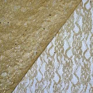 Гипюр золотистый со штампом и блестками (жесткий) ш.158