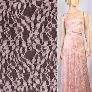Гипюр розовый с бежевыми листьями ш.150