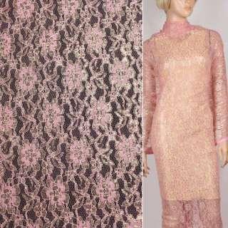 Гипюр розовый с золотым люрексом ш.150