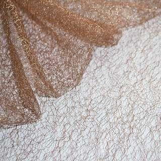 Гипюр-паутинка коричнево-розовая с серебряным люрексом ш.160